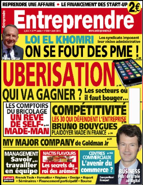 couverture magazine Entreprendre