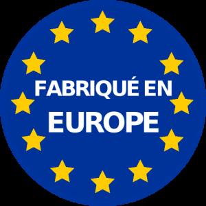 logo fabriqué en Europe bleu étoiles jaunes